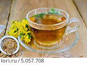 Купить «Травяной чай из зверобоя в ситечке с чашкой», фото № 5057708, снято 4 июля 2013 г. (c) Резеда Костылева / Фотобанк Лори