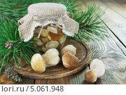 Купить «Соленые грибы в банке», фото № 5061948, снято 18 сентября 2013 г. (c) Надежда Мишкова / Фотобанк Лори