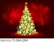 Новогодняя открытка с сияющей елкой. Стоковая иллюстрация, иллюстратор Евгения Малахова / Фотобанк Лори