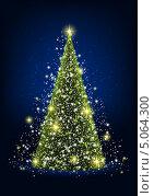 Купить «Новогодняя открытка с сияющей елкой», иллюстрация № 5064300 (c) Евгения Малахова / Фотобанк Лори