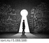 Купить «Бизнесмен стоит у отверстия в виде замочной скважины в стене, исписанной формулами», фото № 5088588, снято 2 июля 2020 г. (c) Sergey Nivens / Фотобанк Лори