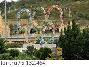 Купить «Олимпийские кольца на территории аэропорта в Адлере, Сочи», эксклюзивное фото № 5132464, снято 6 октября 2013 г. (c) Юрий Морозов / Фотобанк Лори