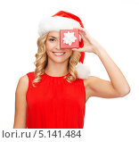Купить «Счастливая девушка с рождественским подарком в руках», фото № 5141484, снято 27 сентября 2013 г. (c) Syda Productions / Фотобанк Лори