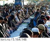 Купить «Мусульмане в Москве совершают намаз в честь праздника Курбан-Байрам», фото № 5164148, снято 15 октября 2013 г. (c) Данила Васильев / Фотобанк Лори