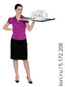 Купить «Девушка-архитектор держит макет на ладони», фото № 5172208, снято 15 марта 2011 г. (c) Phovoir Images / Фотобанк Лори