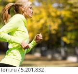 Купить «Девушка совершает пробежку в осеннем парке», фото № 5201832, снято 19 июня 2013 г. (c) Syda Productions / Фотобанк Лори