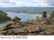 Шаманские пирамиды на Байкале. Стоковое фото, фотограф Gorelova Tatiana / Фотобанк Лори