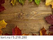 Рамка из осенних листьев клёна на старом деревянном столе. Стоковое фото, фотограф Alioshin.aleksey / Фотобанк Лори