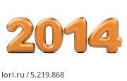 Купить «Трехмерные 2014 оранжевые числа с серебряным обрамлением», иллюстрация № 5219868 (c) Маринченко Александр / Фотобанк Лори