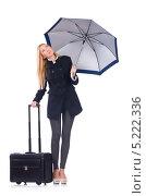 Купить «Девушка в черном полупальто с зонтом и чемоданом», фото № 5222336, снято 29 сентября 2013 г. (c) Elnur / Фотобанк Лори