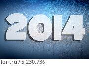 Купить «2014 на стекле, покрытом инеем», иллюстрация № 5230736 (c) Алексей Кашин / Фотобанк Лори