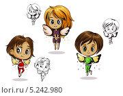 Рисованные ангелы. Стоковая иллюстрация, иллюстратор Вероника Ковалева / Фотобанк Лори
