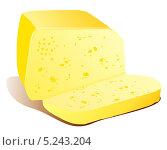 Брусок сыра и отрезанный кусок сыра лежат на столе. Стоковая иллюстрация, иллюстратор Yana Geruk / Фотобанк Лори