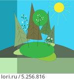 Весенний пейзаж. Стоковая иллюстрация, иллюстратор Марина Дычек / Фотобанк Лори