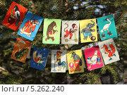 Купить «Новогодняя ёлка с гирляндами флажков советского периода. 70-е года 20 века», эксклюзивное фото № 5262240, снято 2 ноября 2013 г. (c) Алёна Кухтина / Фотобанк Лори