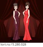 Две гламурные женщины в вечерних платьях. Стоковая иллюстрация, иллюстратор Вероника Ковалева / Фотобанк Лори