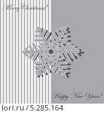 Новогодняя открытка. Снежинка на сером фоне. Стоковая иллюстрация, иллюстратор Марина Дычек / Фотобанк Лори