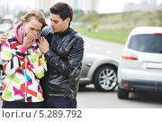 Купить «ДТП на дороге», фото № 5289792, снято 22 сентября 2013 г. (c) Дмитрий Калиновский / Фотобанк Лори