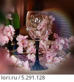 Бокал и цветы, дифракция света. Стоковая иллюстрация, иллюстратор Александр Батищев / Фотобанк Лори