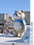Купить «Символы Олимпиады-2014 в Сочи установили на Манежной площади, Москва», эксклюзивное фото № 5303708, снято 28 марта 2013 г. (c) lana1501 / Фотобанк Лори
