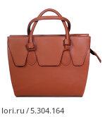 Купить «Коричневая кожаная женская сумка на белом фоне», фото № 5304164, снято 29 октября 2013 г. (c) Egorius / Фотобанк Лори