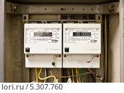 Купить «Двухтарифный электросчетчик. Учет дневного и ночного расхода электроэнергии», фото № 5307760, снято 26 ноября 2013 г. (c) Victoria Demidova / Фотобанк Лори