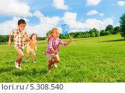 Купить «Дети сачком ловят бабочек на лугу», фото № 5308540, снято 18 августа 2013 г. (c) Сергей Новиков / Фотобанк Лори