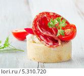 Купить «Багет с салями, сыром и травами», фото № 5310720, снято 20 ноября 2013 г. (c) Tatjana Baibakova / Фотобанк Лори