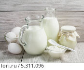 Купить «Молочные продукты и куриные яйца на столе», фото № 5311096, снято 27 ноября 2013 г. (c) Надежда Мишкова / Фотобанк Лори