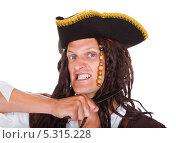 Купить «злой пират с ножом», фото № 5315228, снято 24 августа 2013 г. (c) Андрей Попов / Фотобанк Лори