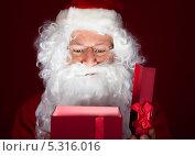 Купить «Санта-Клаус открывает подарок», фото № 5316016, снято 21 июля 2013 г. (c) Андрей Попов / Фотобанк Лори