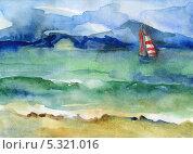 Вода и парус. Стоковая иллюстрация, иллюстратор Гузель Гайсина / Фотобанк Лори
