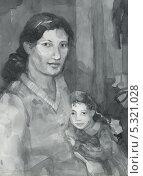 Мама с дочкой. Стоковая иллюстрация, иллюстратор Гузель Гайсина / Фотобанк Лори