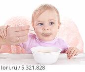 Купить «Маленький ребенок с удовольствием ест детскую кашу», фото № 5321828, снято 4 ноября 2013 г. (c) Галина Михалишина / Фотобанк Лори