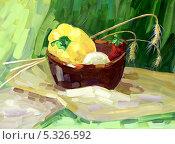 Купить «Натюрморт с овощами в миске на столе, гуашь», иллюстрация № 5326592 (c) Ирина Иванова / Фотобанк Лори
