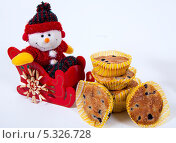 Купить «Рождественские украшения и пирожное с черникой», фото № 5326728, снято 28 ноября 2013 г. (c) Tamara Sushko / Фотобанк Лори