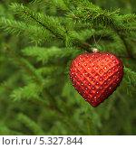 Купить «Красная елочная игрушка - сердце со стразами», фото № 5327844, снято 3 октября 2012 г. (c) Мурина Ольга / Фотобанк Лори