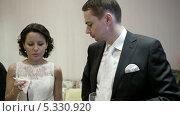 Купить «Жених с невестой разговаривают на банкете», видеоролик № 5330920, снято 28 ноября 2013 г. (c) Данил Руденко / Фотобанк Лори