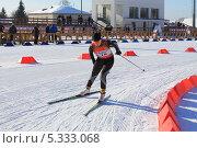 Купить «Девушка на биатлонной трассе», фото № 5333068, снято 17 февраля 2013 г. (c) Анатолий Матвейчук / Фотобанк Лори