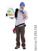 Купить «Электрик в голубой каске кричит в мегафон об энергосбережении», фото № 5333124, снято 3 января 2011 г. (c) Phovoir Images / Фотобанк Лори