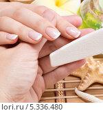 Купить «Процедура салонного маникюра. Подпиливание ногтей», фото № 5336480, снято 18 ноября 2013 г. (c) Валуа Виталий / Фотобанк Лори