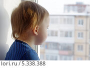 Ребенок (1 год 2 месяца) смотрит в окно. Стоковое фото, фотограф ivolodina / Фотобанк Лори
