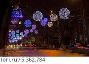 Купить «Иллюминация на улице (улица Красная, город Краснодар)», фото № 5362784, снято 11 декабря 2013 г. (c) Юлия Ухина / Фотобанк Лори
