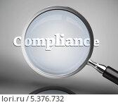 Купить «Magnifying glass showing compliance word in white», фото № 5376732, снято 16 июня 2019 г. (c) Wavebreak Media / Фотобанк Лори