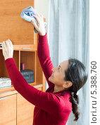 Купить «Женщина проводит уборку пыли с мебели», фото № 5388760, снято 17 октября 2018 г. (c) Яков Филимонов / Фотобанк Лори