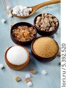 Купить «Белый и тростниковый сахар в мисочках», фото № 5392520, снято 13 декабря 2013 г. (c) Tatjana Baibakova / Фотобанк Лори