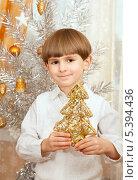 Купить «Пятилетний мальчик у новогодней елки», фото № 5394436, снято 15 декабря 2013 г. (c) Юлия Кузнецова / Фотобанк Лори