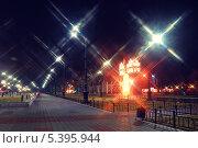 Набережная Благовещенска ночью. Стоковое фото, фотограф Андрей Ершов / Фотобанк Лори