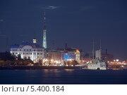 Аврора, Нева и ночь (2013 год). Редакционное фото, фотограф Александр Ольхов / Фотобанк Лори