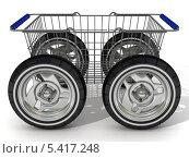 Купить «Корзина для покупок на колесах», иллюстрация № 5417248 (c) WalDeMarus / Фотобанк Лори